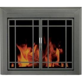 Pleasant Hearth Edinburg Gunmetal Large Cabinet-Style Fireplace Doors with Smoke Tempered Glass