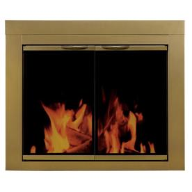 Pleasant Hearth Ashlynn Antique Brass Large Cabinet-Style Fireplace Doors with Clear Tempered Glass