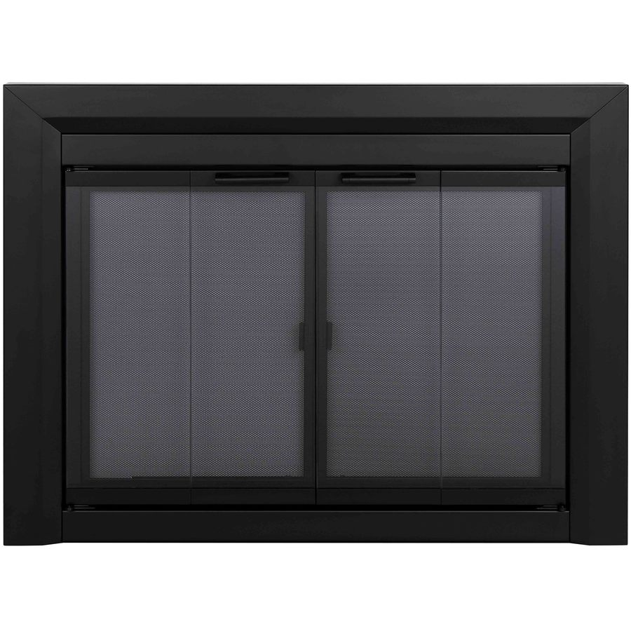Shop Pleasant Hearth Clairmont Black Small Bifold Fireplace Doors With Smoke Tempered Glass At