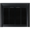 Pleasant Hearth Clairmont Black Small Bifold Fireplace Doors with Smoke Tempered Glass