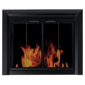 Pleasant Hearth Clairmont Black Large Cabinet-Style Fireplace Doors with Smoke Tempered Glass