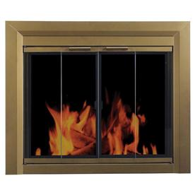 Pleasant Hearth Carrington Antique Brass Small Bifold Fireplace Doors with Smoke Tempered Glass