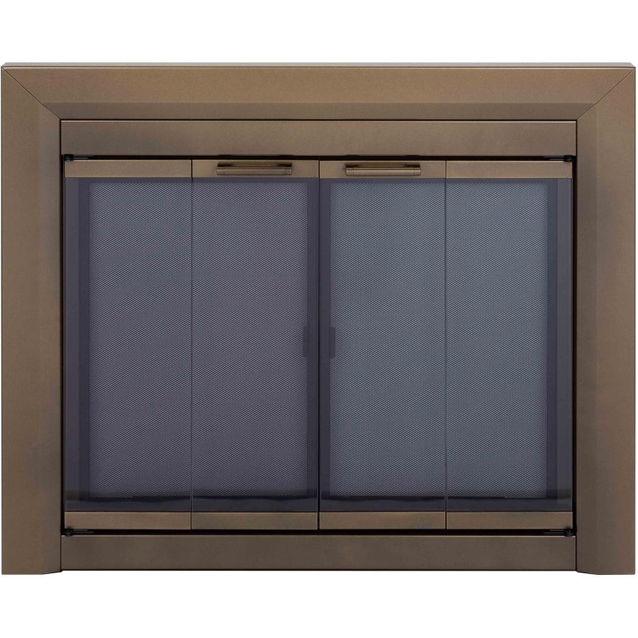 Shop Pleasant Hearth Carrington Antique Brass Medium Bifold Fireplace Doors With Smoke Tempered