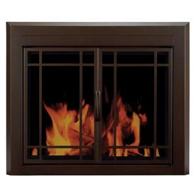 Pleasant Hearth Enfield Burnished Bronze Large Cabinet-Style Fireplace Doors with Smoke Tempered Glass