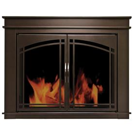 Pleasant Hearth Fenwick Oil-Rubbed Bronze Medium Cabinet-Style Fireplace Doors with Smoke Tempered Glass