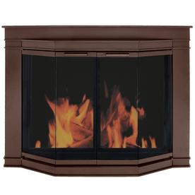 Pleasant Hearth Glacier Bay Oil-Rubbed Bronze Large Bi-Fold Bay Fireplace Doors with Smoke Tempered Glass