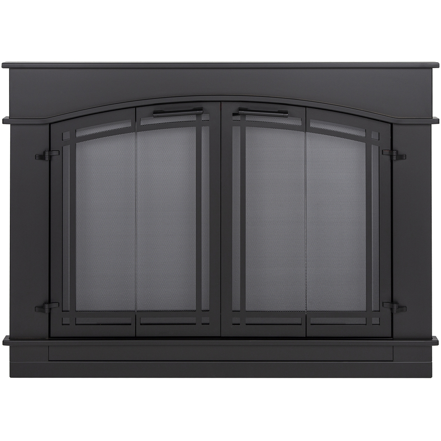 Shop Pleasant Hearth Fieldcrest Black Small Bifold Fireplace Doors With Smoke Tempered Glass At