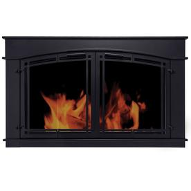 Pleasant Hearth Fieldcrest Black Large Bifold Fireplace Doors with Smoke Tempered Glass