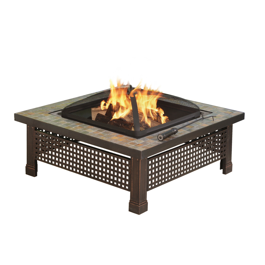 Hearth 34 In W Rubbed Bronze Steel Wood Burning Fire Pit At
