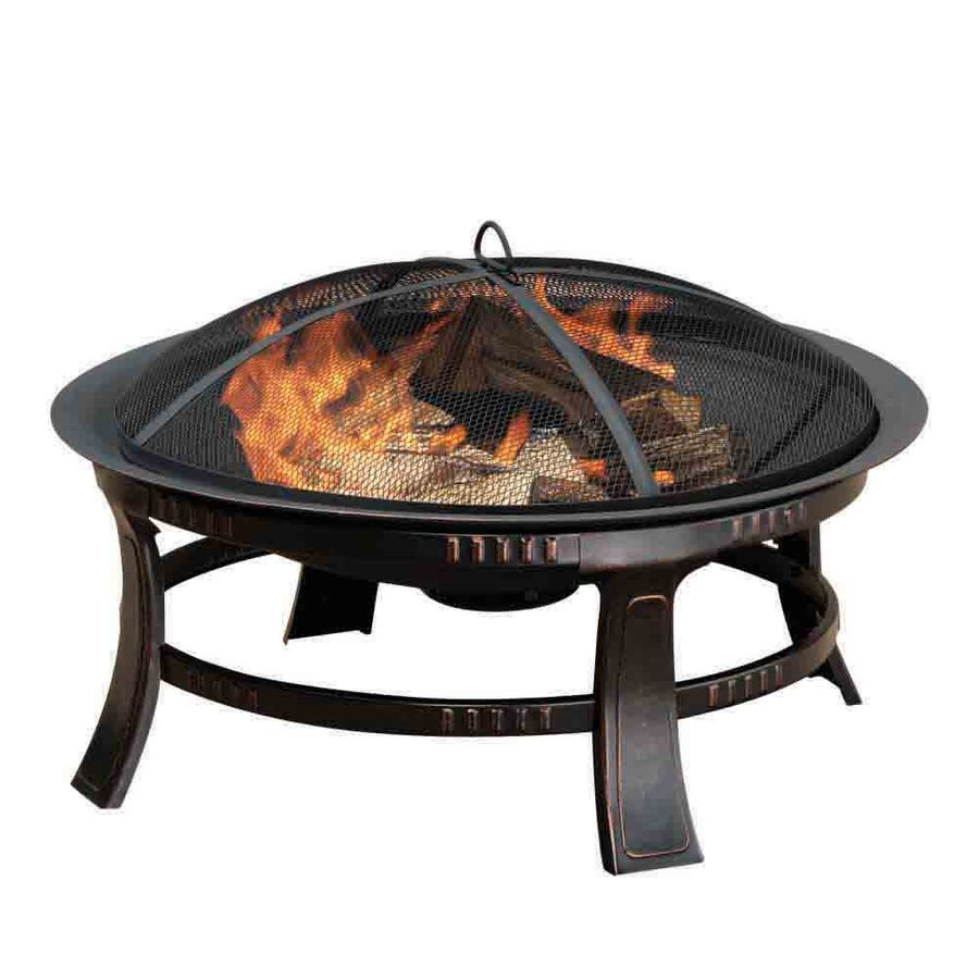 Shop pleasant hearth 30 in w rubbed bronze steel wood for Lowes fire pit