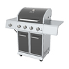 Dyna-Glo Gunmetal Gray and Stainless Steel 4-Burner (52,000-BTU) Liquid Propane Gas Grill with Side Burner