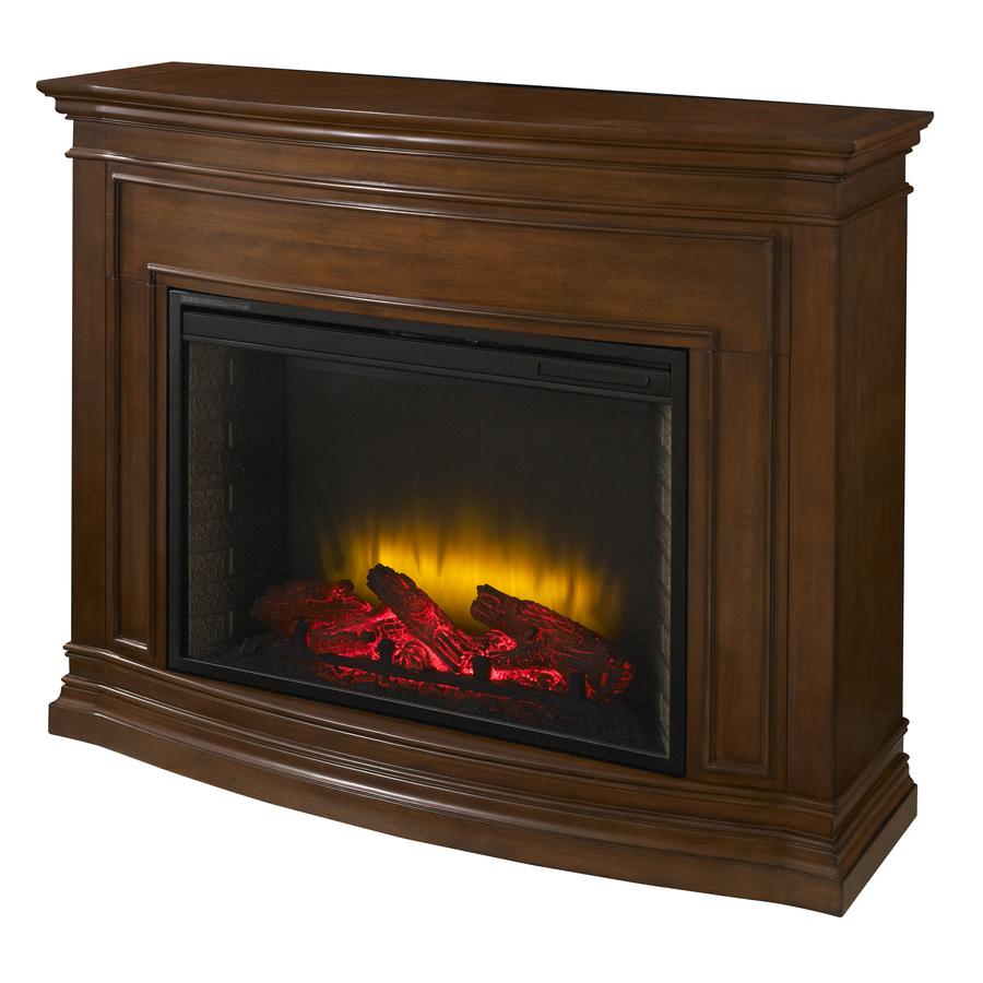 shop pleasant hearth 46 in w 4 600 btu mahogany wood fan forced