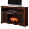 Pleasant Hearth 56-in W 4,600-BTU Cherry Wood and Metal Fan-Forced Electric Fireplace with Thermostat and Remote Control