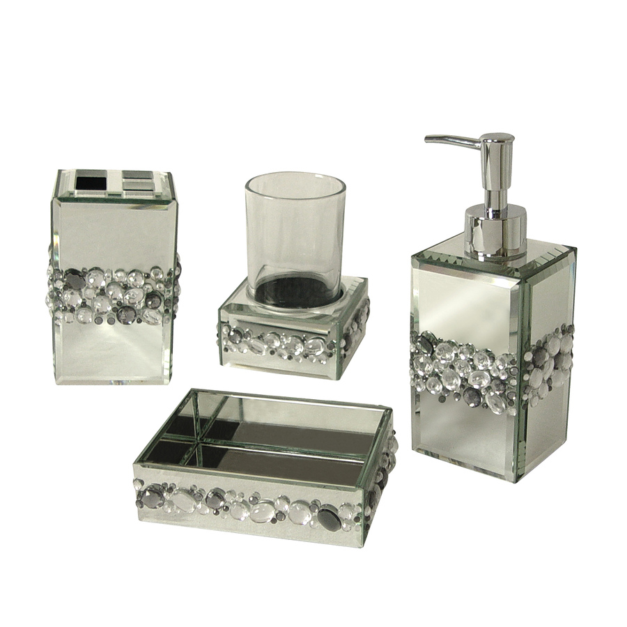 Shop elegant home fashions bling 4 piece bathroom for Where to get bathroom accessories