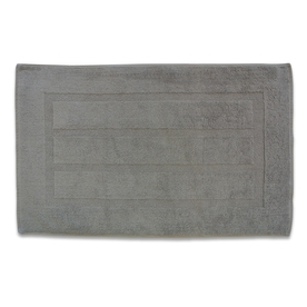 Plush Pile 32-in x 20-in Marble Grey Cotton Bath Rug
