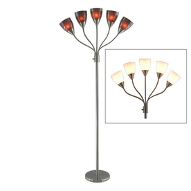 Style Selections 68-in 3-Way Switch Brushed Nickel Indoor Floor Lamp with Plastic Shade