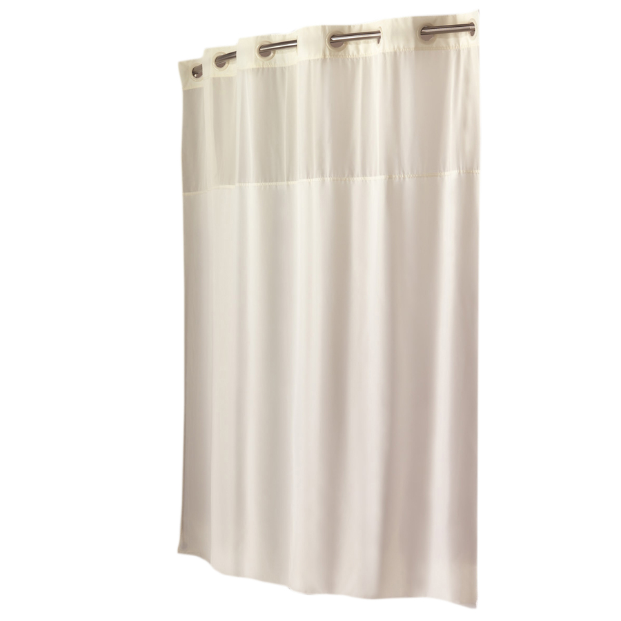 Shop Hookless Polyester Beige Solid Shower Curtain At