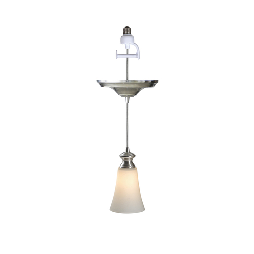 Zoomed: Portfolio Recessed Can Conversion Pendant Light with Glass Shade