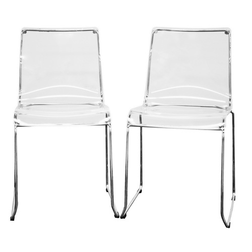 Baxton Studio Transparent Clear Acrylic Dining Chairs From Lowes Chairs Dining Room Furniture
