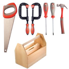 Red Toolbox 5-Piece Kids Tool Kit