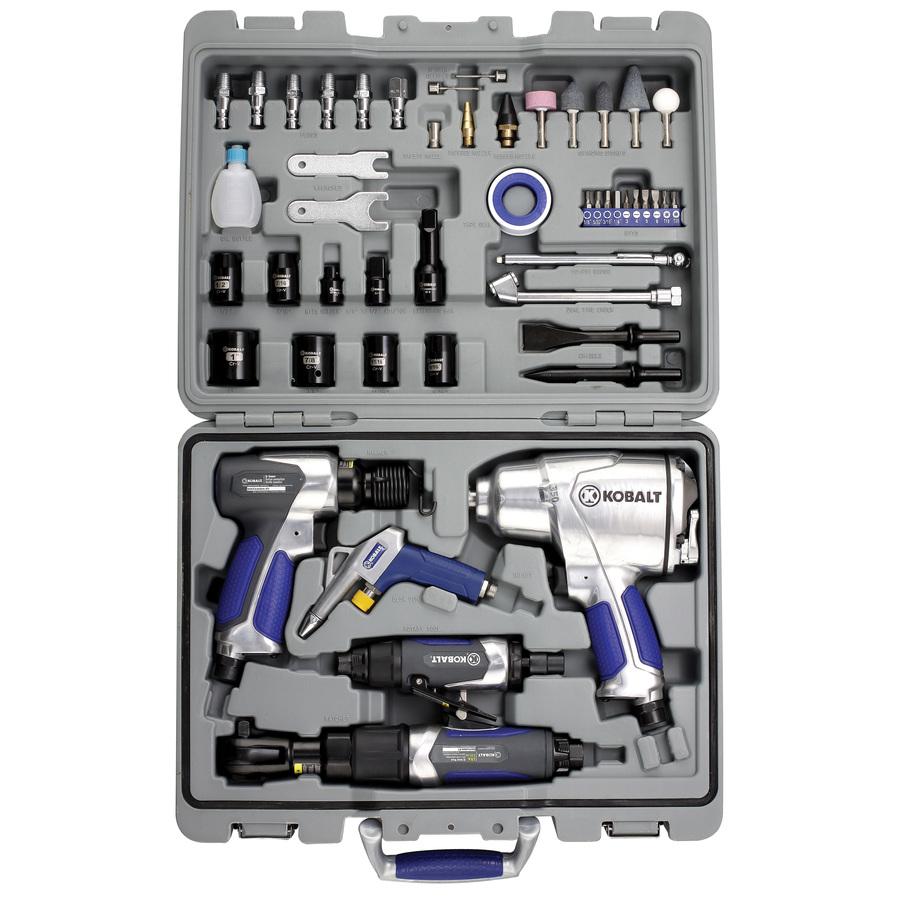 Kobalt 50 Pc Air Tool Kit Pneumatic Impact Wrench Hammer