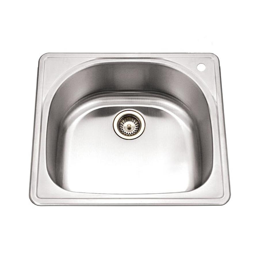 Houzer Stainless Steel Sinks : Shop HOUZER Premiere 18-Gauge Single-Basin Drop-In Stainless Steel ...