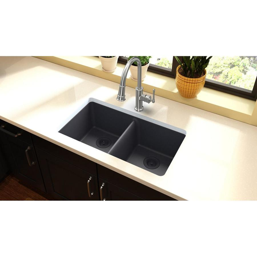 Houzer Stainless Steel Sinks : Shop HOUZER Glowtone Lustrous Satin Double-Basin Drop-In Kitchen Sink ...