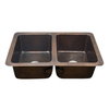 HOUZER Hammerwerks 21-in x 34-in Antique Copper Double-Basin Drop-In or Undermount Residential Kitchen Sink