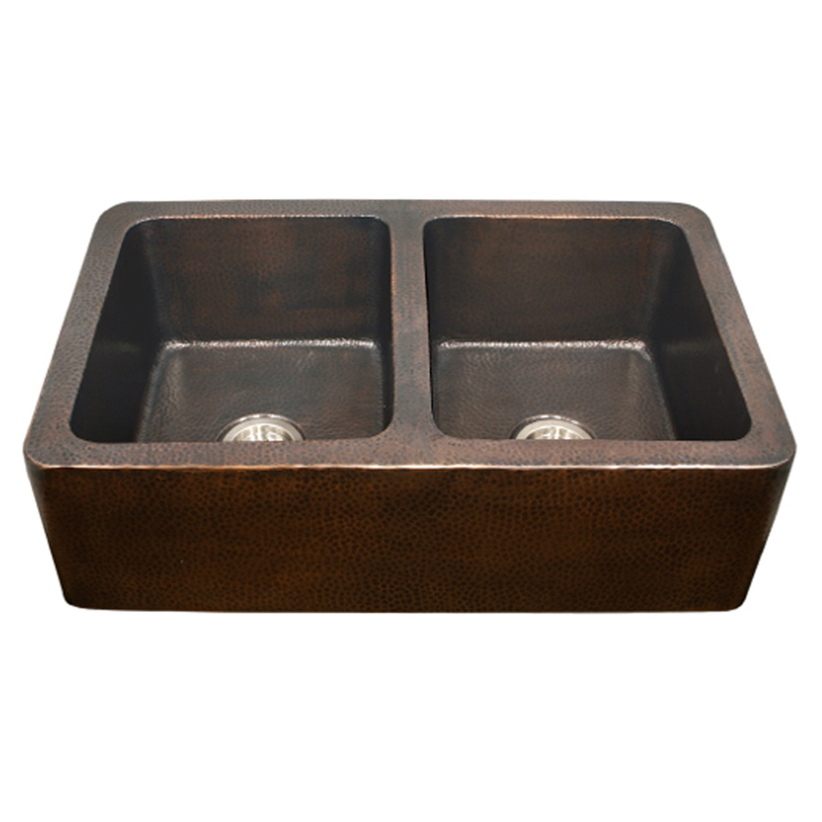 Copper Apron Front Sink : ... Double-Basin Apron Front/Farmhouse Copper Kitchen Sink at Lowes.com