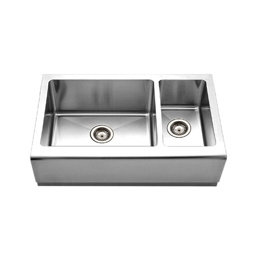 Shop houzer epicure 20 in x 33 in brushed satin double basin stainless steel apron front - Kitchen sinks apron front ...