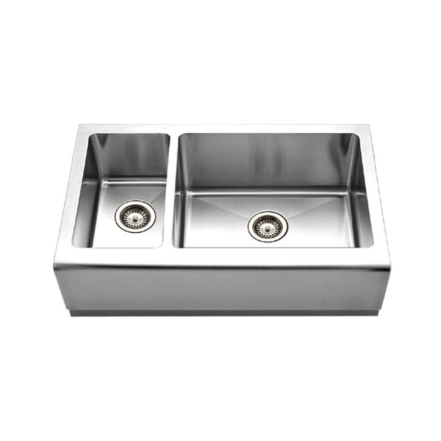 Apron Front Double Sink : ... Double-Basin Stainless Steel Apron Front/Farmhouse Kitchen Sink at