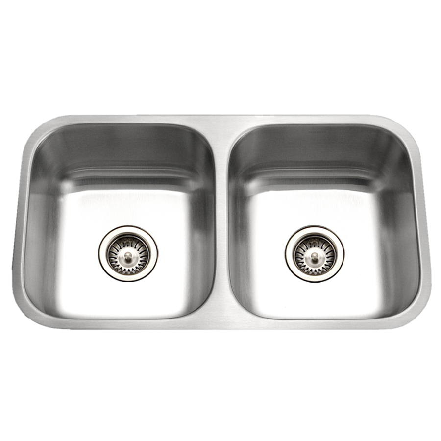 ... 16-Gauge Double-Basin Undermount Stainless Steel Kitchen Sink at Lowes