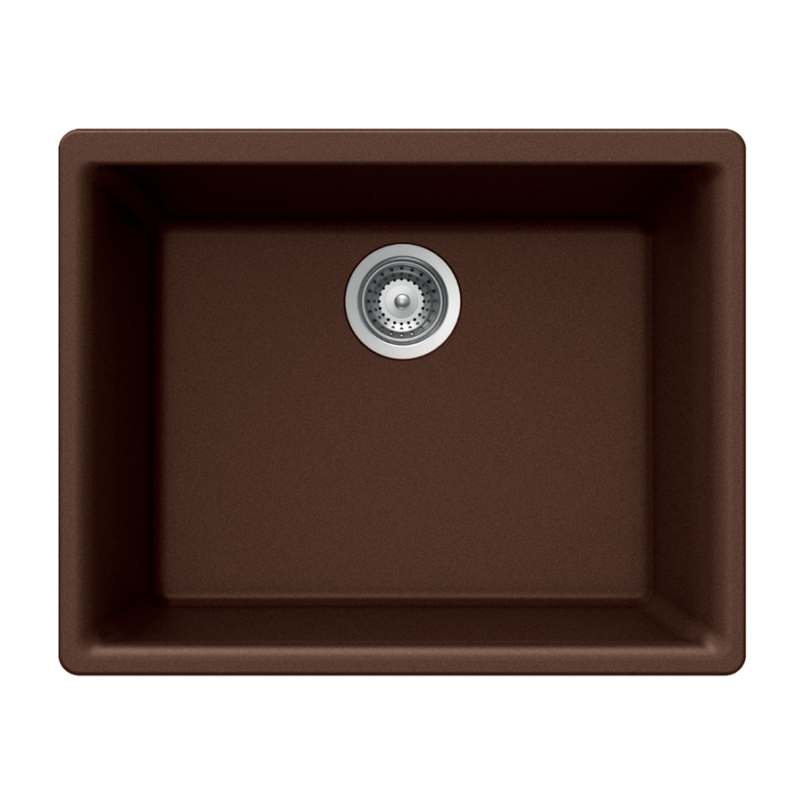 Shop Houzer 18 In X 24 In Copper Single Basin Granite Undermount Kitchen Sink At