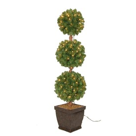 Holiday Living 4-ft Indoor/Outdoor Triple Ball Topiary Pre-lit Decorative Artificial Tree with 150-Count Clear Lights