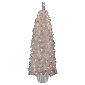 Holiday Living 5-ft Indoor/Outdoor Pine Pre-lit Decorative Artificial Tree with 150-Count Clear Lights