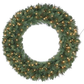 Holiday Living 48-in Indoor/Outdoor Artificial Wreath with Clear Incandescent Lights