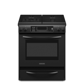 KitchenAid 4.1-cu ft Self-Cleaning Slide-In Convection Gas Range (Black) (Common: 30-in; Actual 30-in)