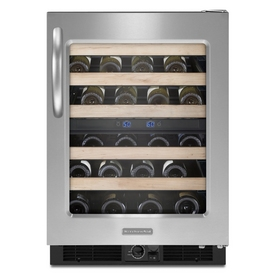 KitchenAid 46-Bottle Stainless Steel Dual Zone Undercounter Wine Chiller