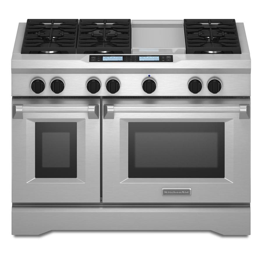 Gas Ranges >> Oven Range: 48 Dual Fuel Double Oven Range