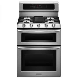 KitchenAid 30-in 5-Burner 4.2-cu ft/2.5-cu ft Self-Cleaning Double Oven Convection Dual Fuel Range (Stainless Steel)