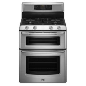 Maytag 30-in 2.1 cu ft/3.9 cu ft Double Oven Gas Range (Stainless Steel)