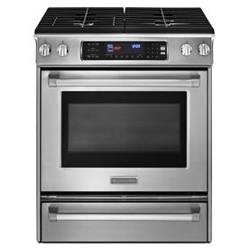 KitchenAid Standard 4.1-cu ft Self-Cleaning Single Oven Dual Fuel Range (Stainless Steel) (Common: 30-in; Actual 30-in)