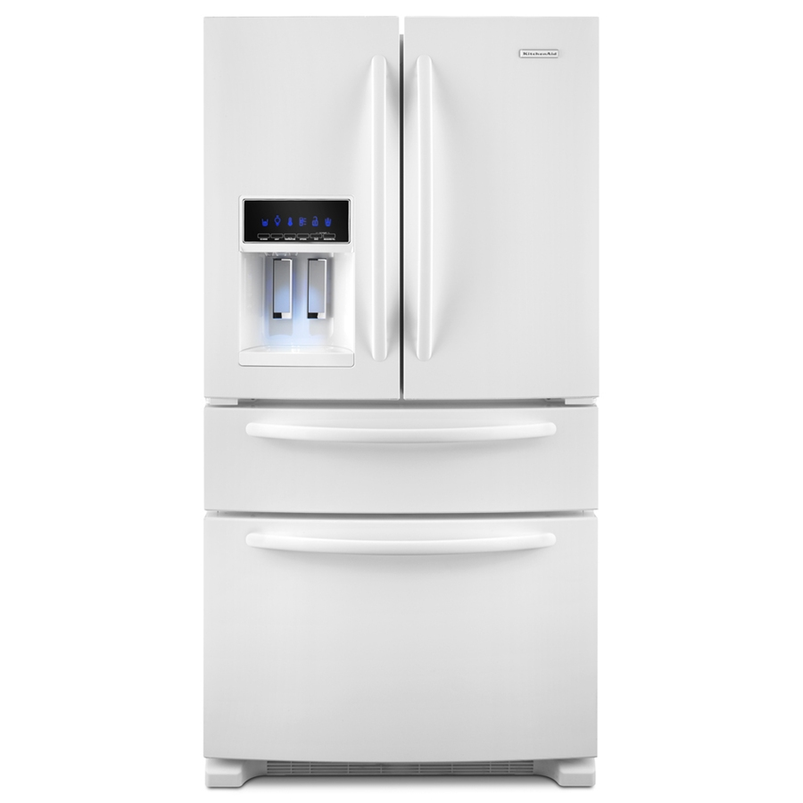 Shop Kitchenaid 25 Cu Ft 4 Door French Door Refrigerator With Single Ice Maker White Energy