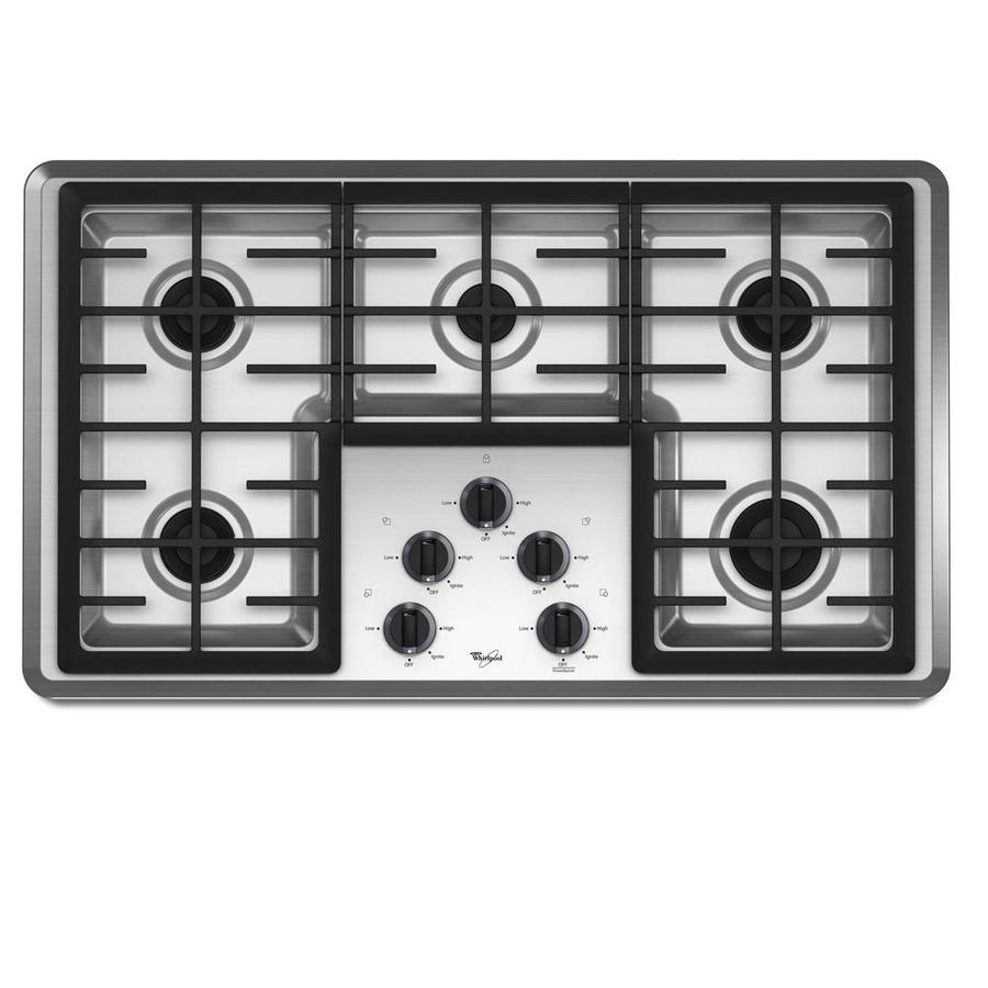 shop whirlpool 5 burner gas cooktop stainless common 36 in actual at. Black Bedroom Furniture Sets. Home Design Ideas