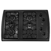 Whirlpool 4-Burner Gas Cooktop (Black) (Common: 30-in; Actual: 31.438-in)