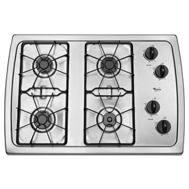 Whirlpool 4-Burner Gas Cooktop (Stainless Steel) (Common: 30-in; Actual: 31.438-in)