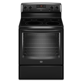 Maytag 30-in Smooth Surface Freestanding 5-Element 6.2 cu ft Electric Range (Black)