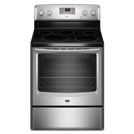 Maytag 30-in Smooth Surface Freestanding 5-Element 6.2 cu ft Electric Range (Stainless Steel)