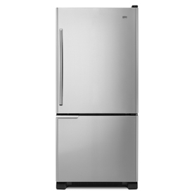 Maytag 18.5-cu ft Bottom-Freezer Refrigerator with Single Ice Maker (Black-On-Stainless) ENERGY STAR
