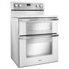 Whirlpool 30-in Smooth Surface 5-Element 4.2-cu ft/2.5-cu ft Self-Cleaning with Steam Double Oven Convection Electric Range (White Ice)